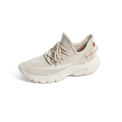 Summer Casual Fly Mesh Low-top mesh Breathable Sneakers for Women - BEIGE EU 38