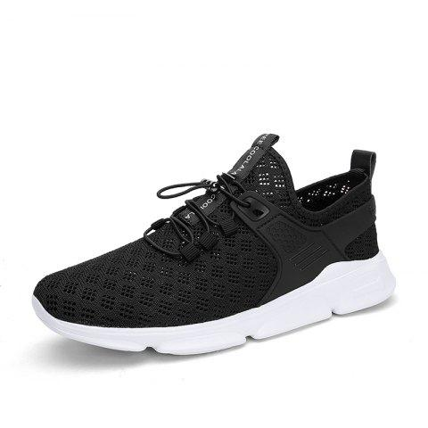 Summer New Large Size Hollow Breathable Mesh Sports Casual Shoes for Men - BLACK EU 43