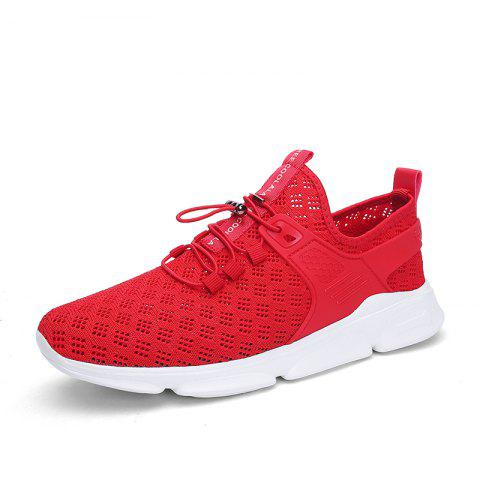 Summer New Large Size Hollow Breathable Mesh Sports Casual Shoes for Men - RED EU 40