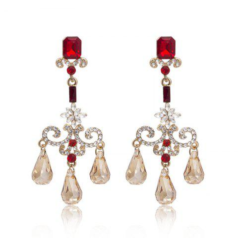 Palace Water Drop Pendant Fringed Temperament Lady Face Thin Earrings - multicolor 1 PAIR