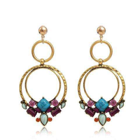 Personality Wild Turquoise Flower Circle Earrings Female - multicolor 1 PAIR