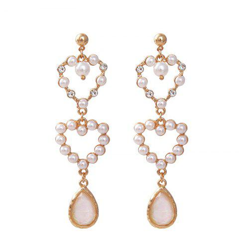 Sweet Girl Heart Pearl Love Long Tassel Earrings Female - WHITE 1 PAIR