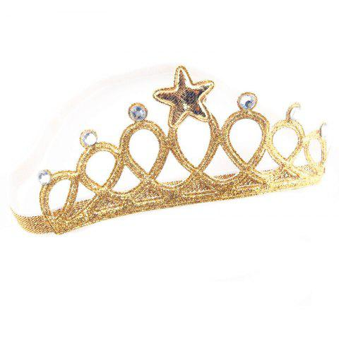 Infant Hollowing Hot Stamping Big Crown Cartoon Princess Hair Accessory - GOLD REGULAR