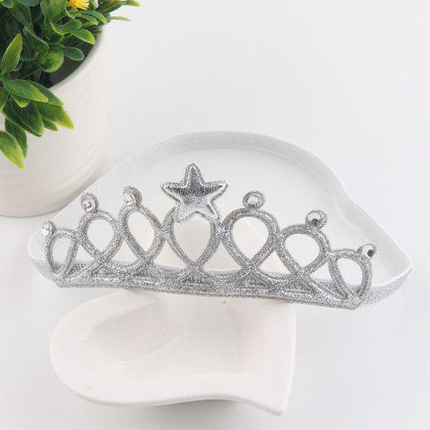 Infant Hollowing Hot Stamping Big Crown Cartoon Princess Hair Accessory - SILVER REGULAR