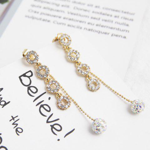 Flash Diamond Asymmetric S925 Silver Needle Drill Ball Circle Earrings - multicolor B 1 PAIR