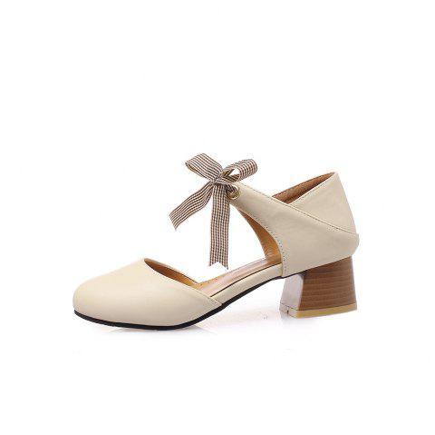 Round Toe Pure Color Lace Up Chunky Sweet Lady Sandals - APRICOT EU 37