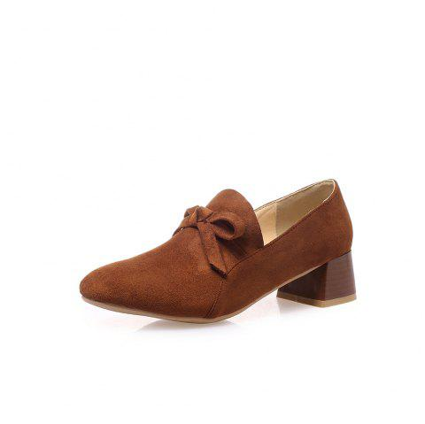 Square Toes Pure Color Bowknot Napped Leather Chunky Women Casual Pumps - BROWN EU 38