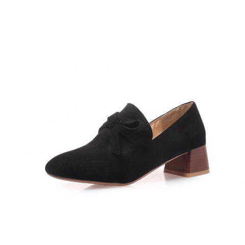 Square Toes Pure Color Bowknot Napped Leather Chunky Women Casual Pumps - BLACK EU 34