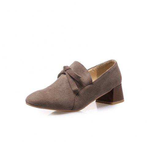 Square Toes Pure Color Bowknot Napped Leather Chunky Women Casual Pumps - GRAY EU 39