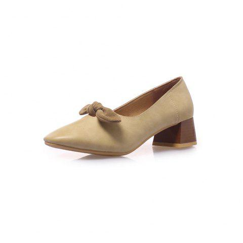 Square Toes Bowknot Pure Color Sweet Chunky Women Casual Pumps - BEIGE EU 38