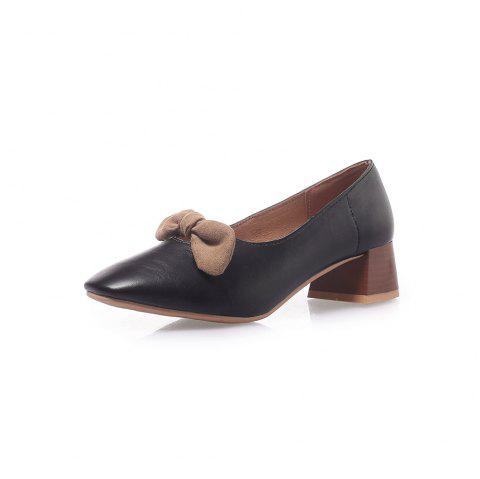 Square Toes Bowknot Pure Color Sweet Chunky Women Casual Pumps - BLACK EU 34