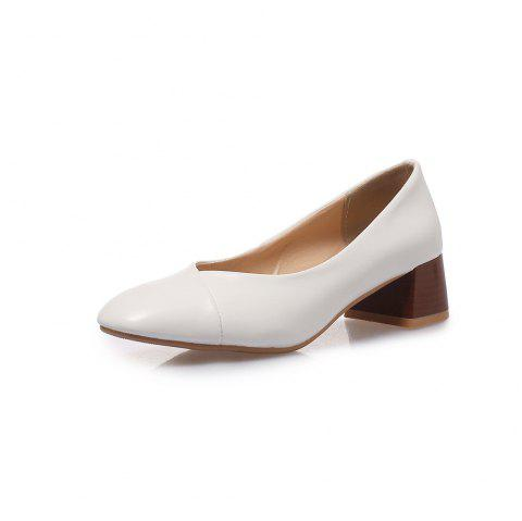 Square Toes Pure Color Joker Chunky Women Casual Pumps - WHITE EU 38