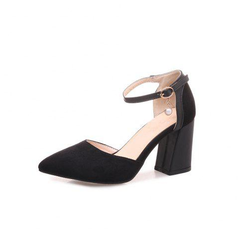 Pointed Toe Napped Leather Blue Patchwork Buckle Strap Chunky Lady Sandals - BLACK EU 37