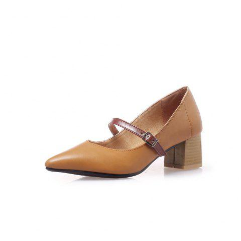 Pointed Toe Blue Patchwork Buckle Strap Thin Chunky Lady Pumps - CARAMEL EU 36