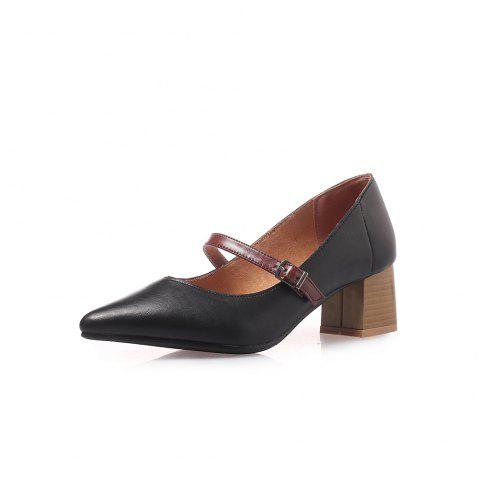 Pointed Toe Blue Patchwork Buckle Strap Thin Chunky Lady Pumps - BLACK EU 38