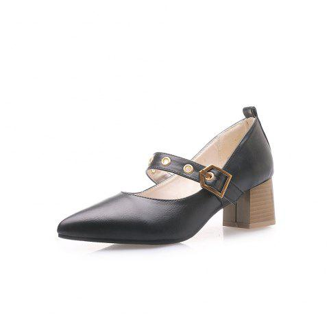 Fashion Pointed Toe Pure Color Buckle Strap Chunky Joker Lady Pumps - BLACK EU 35