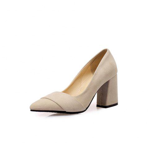Fashion Pointed Toe Pure Color Napped Leather Joker Chunky Heels Lady Pumps - BEIGE EU 38