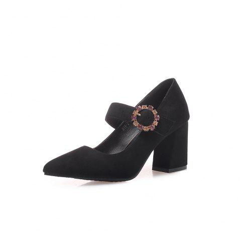 Pointed Toe Napped Leather Crystal Rhinestone Buckle Strap Chunky Heels Pumps - BLACK EU 35
