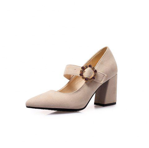 Pointed Toe Napped Leather Crystal Rhinestone Buckle Strap Chunky Heels Pumps - BEIGE EU 37