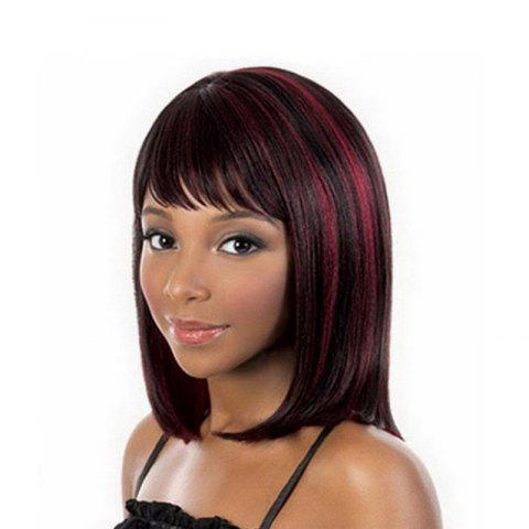 Short Hair Female Black Gradient Wine Red Star Hairstyle Wig - multicolor 1PC