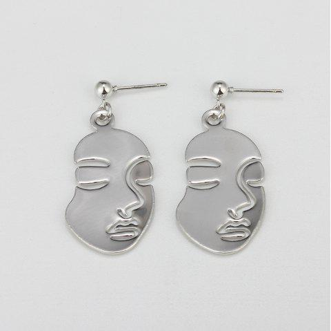 HAOMOU Fashion Hollow Style Face Design Stud Earrings for Women - SILVER 1 PAIR