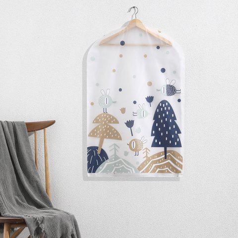 Small Printing Dust-Proof Hang Clothes Storage Bag - CADETBLUE