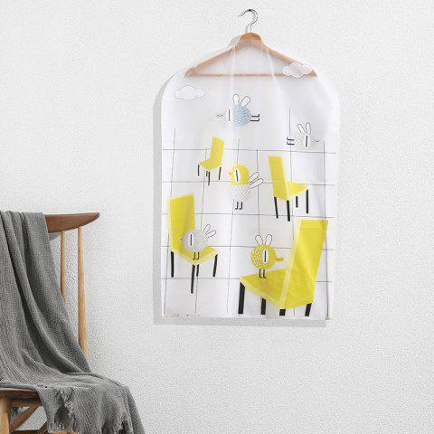 Small Printing Dust-Proof Hang Clothes Storage Bag - YELLOW