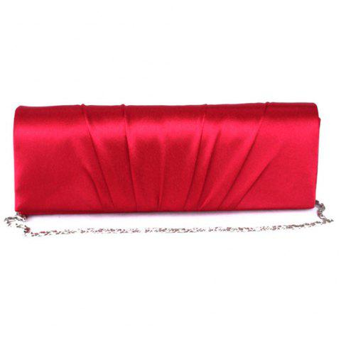 New Ladies Hand Bag Silk Pleated Texture Dinner Bag - RED REGULAR