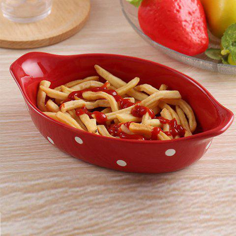 Creative Pasta Salad Plate for Poached Rice Cheese - LAVA RED 20.5*12.5*4