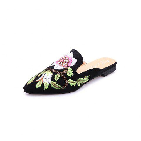 Flat-Bottomed Pointed Embroidered Shallow Mouth  Style Slippers - BLACK EU 42