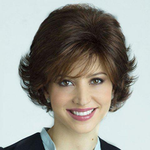 Short Curly Hair Fluffy Face Rose Net Wig - DEEP BROWN 1PC