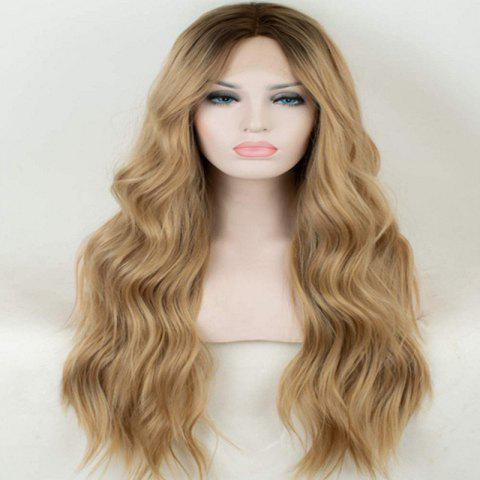 Dyed Gradient Gold High Temperature Synthetic Fiber Wig - FALL LEAF BROWN 1PC