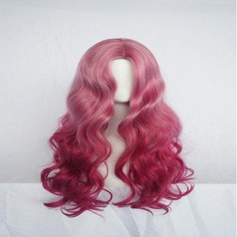 Smoke Pink Long Curly Hair High Temperature Silk Wig - PINK 80 X 15 X 1CM