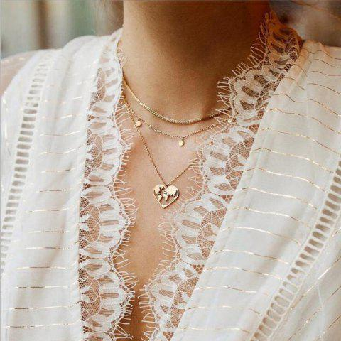 Fashion Hollow Map Pendant Multi-Layer Necklace - GOLD 1PC