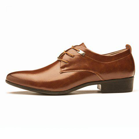 Men Business Pointed British Style Casual Shoes - BROWN EU 42