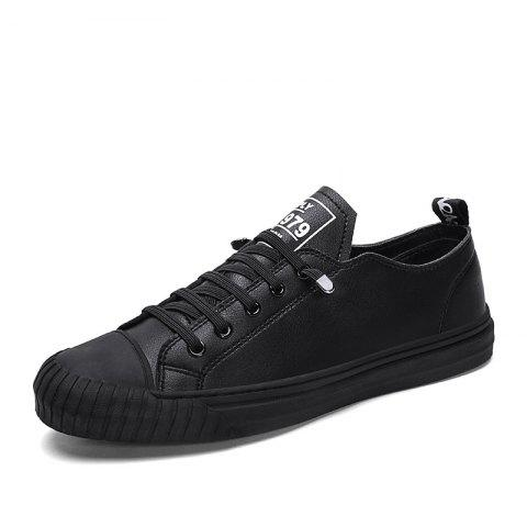 Summer New Handmade Microfiber Leather Upper Flat Casual Shoes for Men - BLACK EU 44