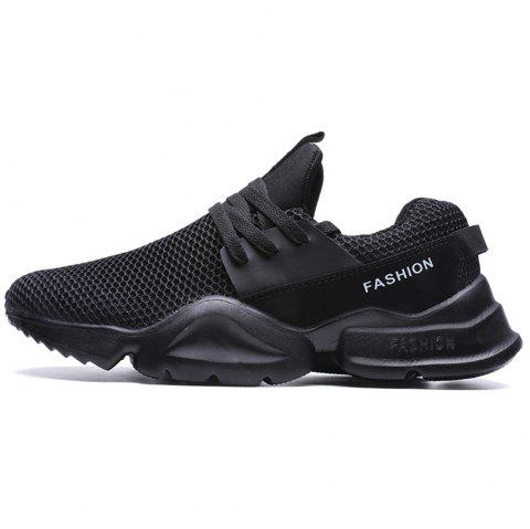Ultra Light New Large Size Fly Mesh Casual Sports Shoes for Men - BLACK EU 45