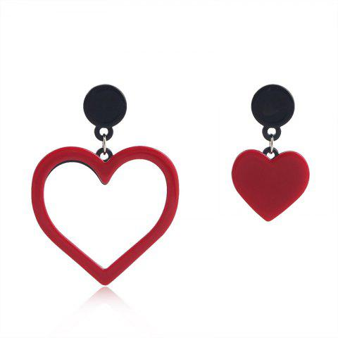 Fashion Temperament Ladies Heart-Shaped AB Version Asymmetric Love Earring - RED 1 PAIR