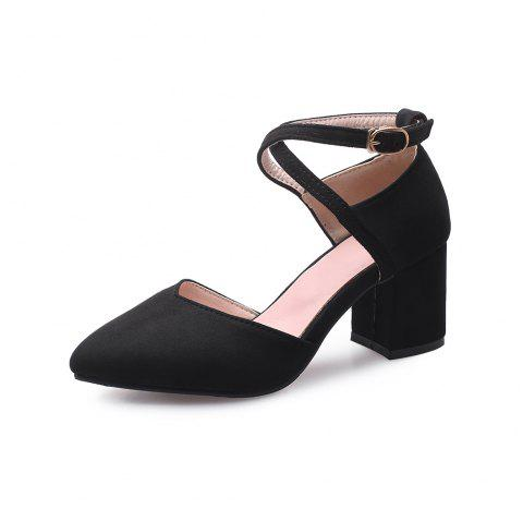 New Fashion Pointed Toe Dull Polish Buckle Strap Chunky Lady Sandals - BLACK EU 43