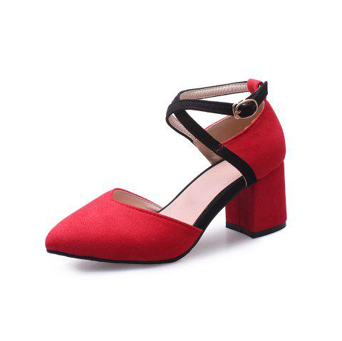 New Fashion Pointed Toe Dull Polish Buckle Strap Chunky Lady Sandals - RED EU 43