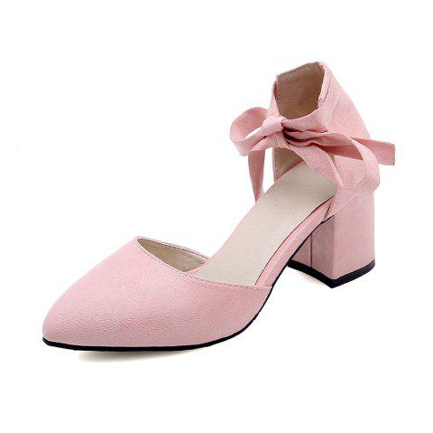 New Fashion Pointed Toe Dull Polish Pure Color Lace Up Chunky Lady Sandals - PINK EU 44