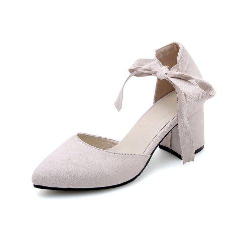 New Fashion Pointed Toe Dull Polish Pure Color Lace Up Chunky Lady Sandals - BEIGE EU 42
