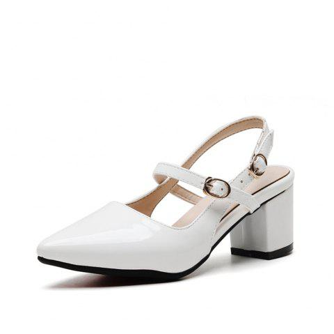 Fashion Pointed Toe Patent Leather Pure Color Buckle Strap Chunky Lady Sandals - WHITE EU 39