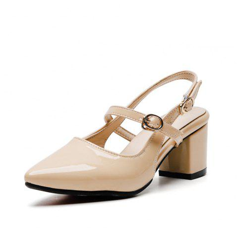 Fashion Pointed Toe Patent Leather Pure Color Buckle Strap Chunky Lady Sandals - APRICOT EU 35