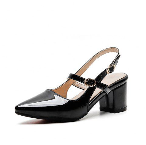 Fashion Pointed Toe Patent Leather Pure Color Buckle Strap Chunky Lady Sandals - BLACK EU 36