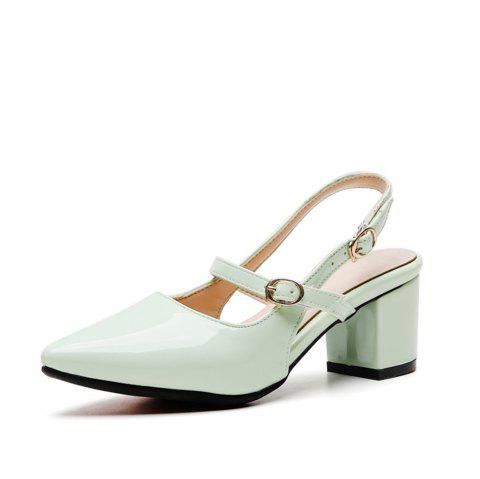 Fashion Pointed Toe Patent Leather Pure Color Buckle Strap Chunky Lady Sandals - LIGHT CYAN EU 38