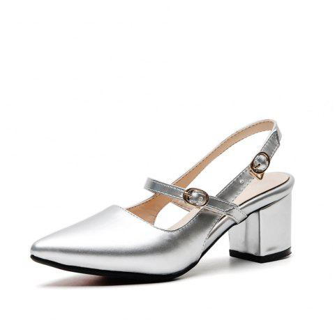 Fashion Pointed Toe Patent Leather Pure Color Buckle Strap Chunky Lady Sandals - SILVER EU 34