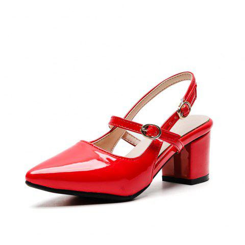 Fashion Pointed Toe Patent Leather Pure Color Buckle Strap Chunky Lady Sandals - RED EU 38