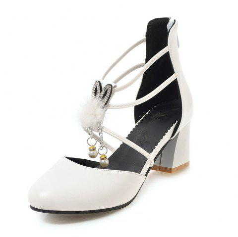 Round Toe Pure Color Pearl Sweet Zipper Chunky Lady Sandals - WHITE EU 40