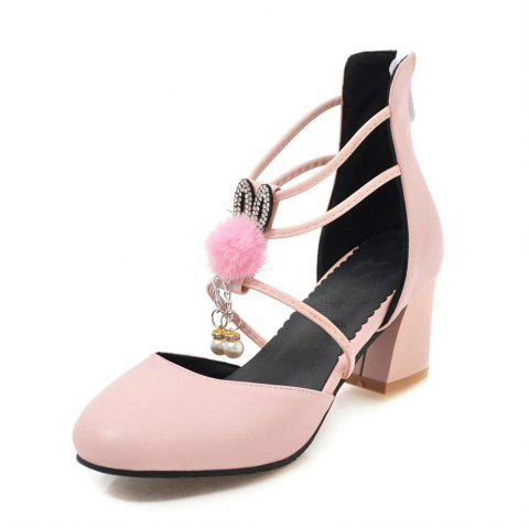 Round Toe Pure Color Pearl Sweet Zipper Chunky Lady Sandals - PINK EU 38